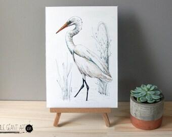 Mr Kotuku, New Zealand native bird illustration, Large print from original watercolor and ink painting artwork, Wild life wall art
