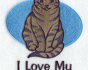 I Love My Tabby Embroidered Flour Sack Hand/Dish Towel