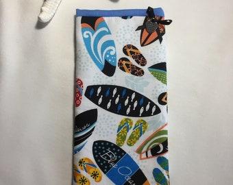 Sunglass case, eye glass case, handmade Hawaiian fabric sunglass case, surfboard print fabric sunglass case, soft padded eye wear case.