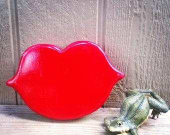 Rustic custom-made Red Lips wood working wall art