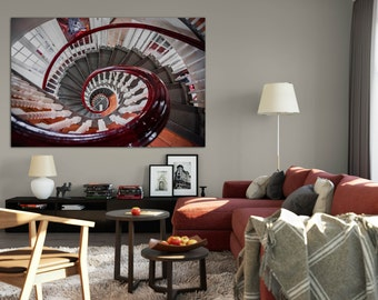 Boston Art Print, Large Wall Art, Spiral Staircase, New England Photography, Landscape Photograph, Urban Art Print