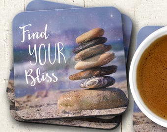 Inspirational Coaster Set, Find Your Bliss, Housewarming Gift, Cork Backed Coasters