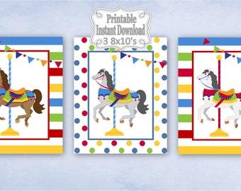 Printable Carousel Horses Merry Go Round Baby Nursery Wall Art Decor Boy Child Kids ~ DIY Instant Download ~ 3 8x10 Prints