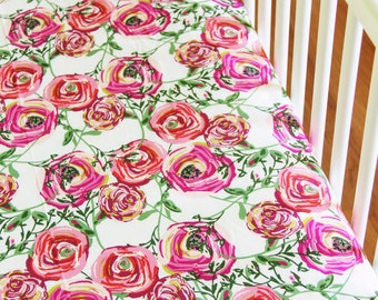 Fitted crib sheet, Crib bedding, Art Gallery Fabric, Floral Crib Sheet, Floral crib sheet, Bari J. Ackerman, Joie De Vivre Fabric