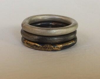 Silver stacking rings - Stacking rings - Stacking Rings Set - Stacking Rings Silver - Silver rings set - Vintage Ring - Vintage Rings Set
