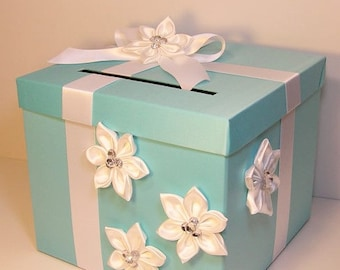Wedding  Card Box Blue  and White Gift Card Box Money Box Holder-Customize your color