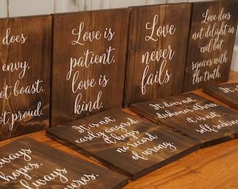 Wedding aisle sign. Wedding aisle marker. Corinthians 13 Wedding Aisle Signs. Aisle markers. Love never fails. Love is Patient, Love is Kind