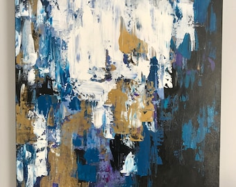 24x30 inch highly textured abstract acrylic painting in deep blue black gold