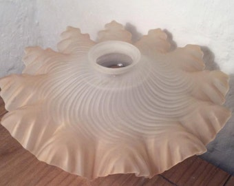 Vintage Art Deco French glass shade with wave effect