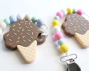 Chocolate Ice Cream Cone // Teether // Teething Accessory
