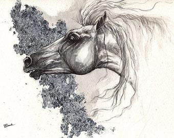 Andalusier, Pferde Kunst, Pferdesport, Pferd Porträt, original vergoldeten Stift und Aquarell