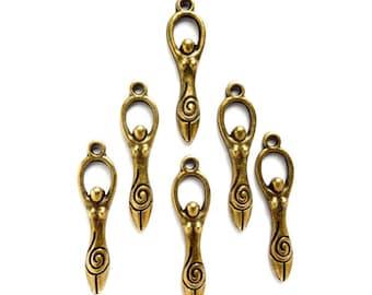 6 Antique Bronze Fertility Goddess Charms - 27-5