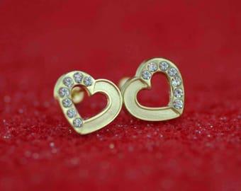 14K Heart Stud Earrings, 14K Gold Heart with CZ Stud Earrings, 14K Gold Stud Heart Earrings whit Screw Back, Girl Stud Earring, Love