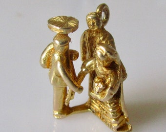 9ct Gold Bride and Groom with Lucky Chimney Sweep Charm