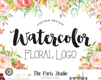 Watercolor Flower Bouquet Logo Floral Logo Custom Logo Design Website Logo Blog Logo Business Branding Boutique Logo Wedding Event Logo
