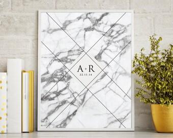Valentine's Day Gift - Marble Initial Keepsake Print