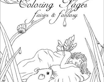 Fairy & Fantasy Coloring Page Set - Art by Rachel Anderson