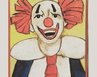 Vintage Happy Clown Painting