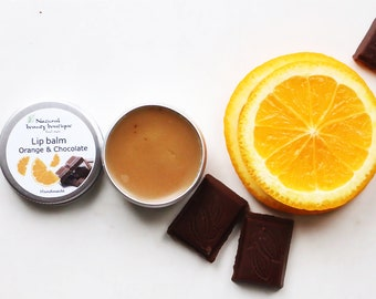 "Natural Lip Balm ""Orange & Chocolate"" cocoa lip balm  beeswax lip balm"