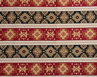 Ethnic Tribal Style Upholstery Fabric, Aztec Navajo Fabric, Striped Kilim Fabric, Red Black Yellow, by the Yard/Metre, Ycp-012
