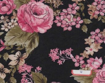 DOUBLE BRUSHED POLY, Pink Floral on Black, Brushed Polyester Knit, Sold by the yard