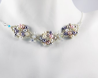 """READY TO SHIP Multicolor Swarovski Crystal Pearl Beadweaving Necklace """"Pearl Blossoms"""""""