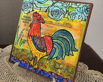 Colorful Rooster Giclee on Masonite Hardboard-Elizabeth Claire