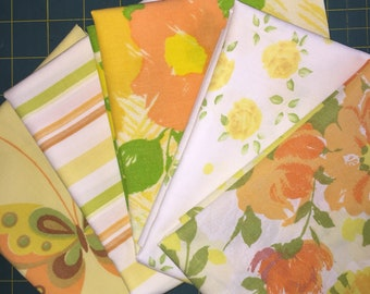 Vintage Sheet Fabric Fat Quarters - 5 pack- yellows