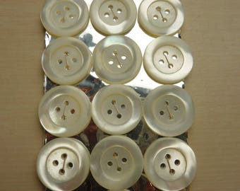 18 old mother of Pearl buttons on card 4 hole 20 mm