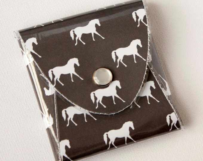 NEW Handmade Vinyl Coin Purse - Ponies/ wallet, vegan, change, snap, small, little, pocket wallet, gift, horse, pony, equestrian