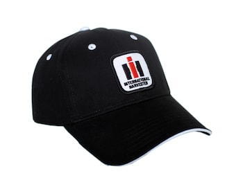 International Harvester IH Logo Hats, black hat with white accents