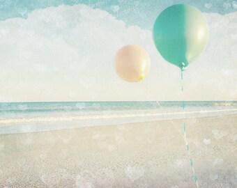 Floating, Beach Print, Balloon Photo, Nursery Decor, Whimsical, Dreamy