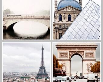 PARIS Collection Set of 4 Paris Prints Eiffel Tower, Arc de Triomphe, Pont Neuf, Louvre, Grey, Neutral, Paris Photography Square Paris Print