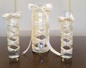 Glass Vase Centerpiece Set Ivory French Braid Corset Laced Ribbon w/ Large Rhinestone Button
