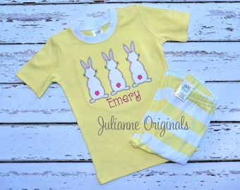 Easter Trio Bunny Monogram Pajamas - Personalized Easter Pajamas - Monogram Easter Pajamas - JULIANNE ORIGINALS