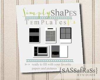 Simply Shapes PHOTOSHOP TEMPLATE V2: 5-Basic Card Templates, Layers, PSD, Commercial Use, Shapes Template