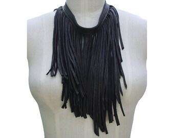 Mano Bello Leather Fringe Necklace, Minimalist Goth Necklace, Dark Fashion, Black Leather Fringe Scarf, Punk fashion, Biker chick fashion