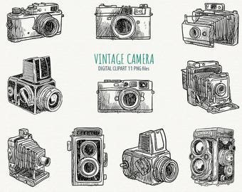 Hand Draw Camera Clipart Photo Camera Clipart Vintage Camera Clipart