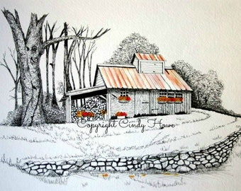 Greeting card, blank inside, barn, cabin, rustic shed, cards, greeting cards, Blue Ridge Mountains, mountain cabin, stone wall, wood shed