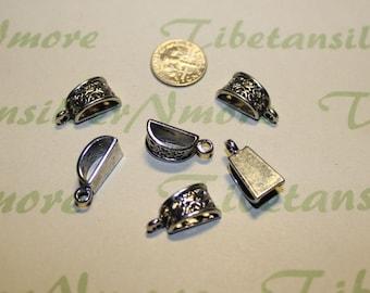 10 pcs per pack 15x7mm 3mm loop Filigree Bail Pewter Antique Silver