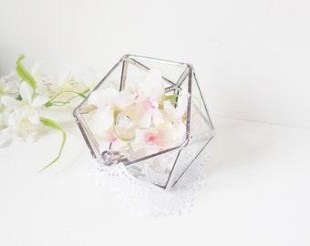 Glass Terrarium, Ring Bearer Wedding Ring Box, Clear Glass Planter Geometric, Icosahedron