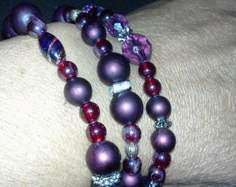 purple satin beads set of 3