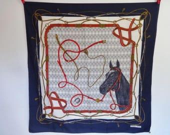 "Vintage Norma Dori Scarf equestrian horse  75cm x 77cm / 29.5"" x 30.3"""
