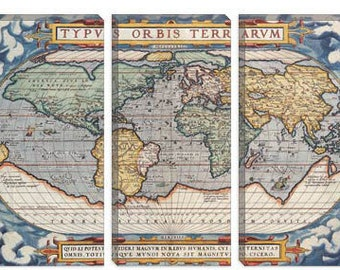 "Antique Map of The World 1570 Art Print (7012) 60""x40"" 3-Piece"
