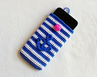"Crochet mobile phone cover,Navy  smart phone case with anchor applique, Crochet phone bag cover,3.5"" (9 cm) / 6"" (15 cm)"