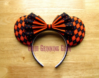 Custom Halloween Minnie Mouse Ears- Orange and Black Polka Dots, Stripes and Argyle