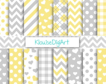 Light Yellow and Gray Digital Printable Papers for Personal and Small Commercial Use (0072)