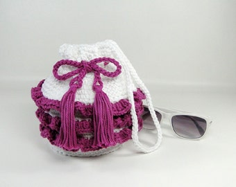 Ruffled Purse - Girl's Ruffled Purse - Little Girl Purse - Crochet Purse - Handbag - Make-up Bag - Cosmetic Bag - White & Orchid