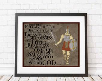 Christian print - Armour of God - wall print - Children's print - Ephesians 6 -Bible art - kid room decor - soldier - inspirational print