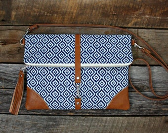 Blue Foldover Handbag Clutch / Kindle Case